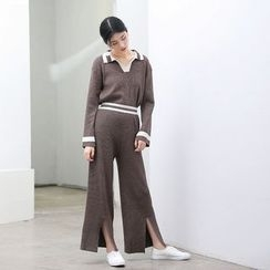 HORG - Set: Contrast Trim Collared Sweater + Wide Leg Knit Pants