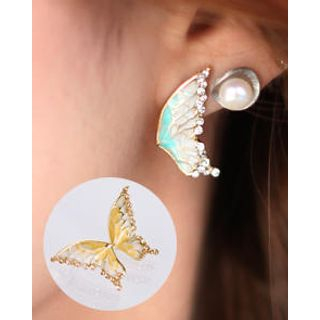 kitsch island - Rhinestone-Accent Butterfly Earrings