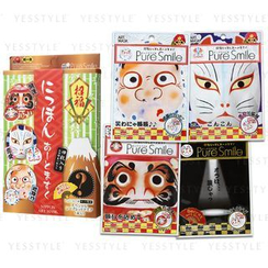 Sun Smile - Pure Smile Nippon Art Mask Set: Koino Okitunesam + Yakuyoke Hyoltutoko + Kaiunn Daruma + Mystery