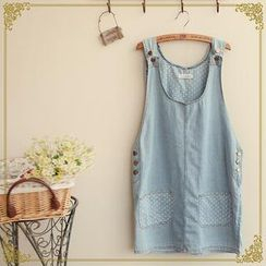 Fairyland - Dotted Denim Jumper Dress