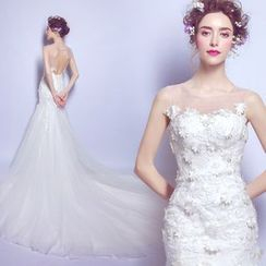 Angel Bridal - Sleeveless Applique Sheath Wedding Dress
