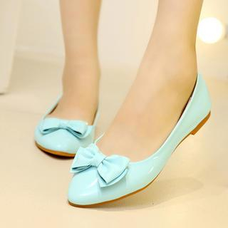Hannah - Bow Accent Patent Flats