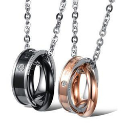 Tenri - Couple Rhinestone Titanium Steel Ring Necklace
