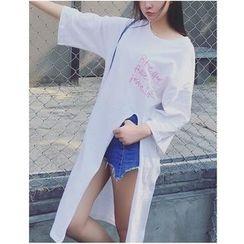 HazyDazy - Elbow-Sleeve Slit Long T-Shirt