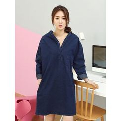 LOLOten - Half-Placket Denim Shift Dress