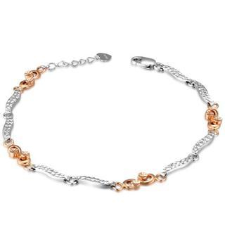 MaBelle - 14K Rose And White Gold Diamond-Cut Infinity Segment Bracelet (6.5'')