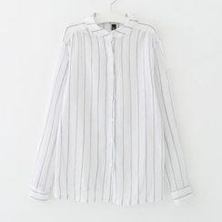 Meimei - Pinstripe Long-Sleeve Blouse