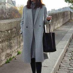 OTTI - Plain Lapel Knit Coat