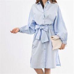 PEPER - Tie-Waist Slit-Side Dress