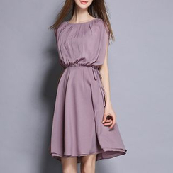 Rosesong - 百褶前幅無袖A字雪紡連衣裙