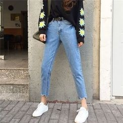 Tiny Times - Raw Hem Cropped Jeans