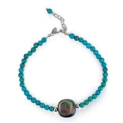 MBLife.com - Left Right Accessory - Round Shape 2-Side Grey Mother of Pearl & Synthetic Turquoise Dyed Howlite Bracelet (6.5')