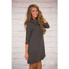 HOTCAKE - Striped Long Sleeve Cowl Neck T-Shirt Dress