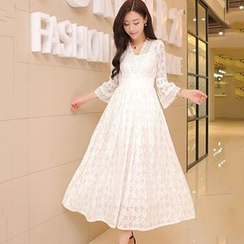 Lovebirds - Bell-Sleeve Smocked Waist Maxi Lace Dress