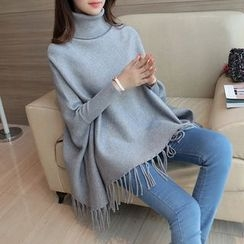NIZ - Turtleneck Fringe-Trim Long Knit Top