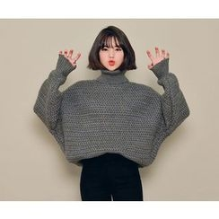 HOTPING - Turtle-Neck Loose-Fit Knit Top