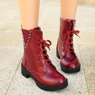 Pangmama - Studded Lace-Up Short Boots