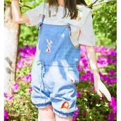 Moricode - Embroidered Denim Jumper Shorts