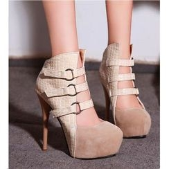 Freesia - Buckled High-heel Ankle Boots
