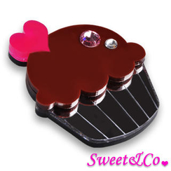 Sweet & Co. - Swarovski Crystal Silver Chocolate Cupcake Pin