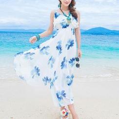 Isadora - Spaghetti Strap Floral Print Maxi Dress