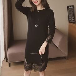 Cocofield - Long-Sleeve Lace Trim Knit Dress