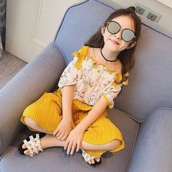 Princess House - Kids Set: Floral Print Off Shoulder Elbow Sleeve Top + Pleated Wide Leg Pants