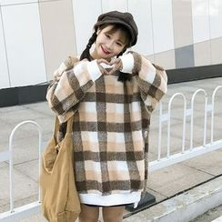 Bloombloom - Plaid Oversized Sweatshirt