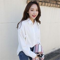 QNIGIRLS - Drop-Shoulder Pocket-Front Shirt