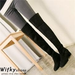 Wifky - Faux-Suede Long Boots