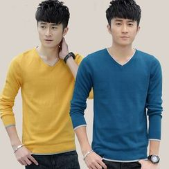 COOLS - Long-Sleeve V-Neck T-Shirt