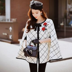 Dabuwawa - Embroidered Check Zip Cape Coat
