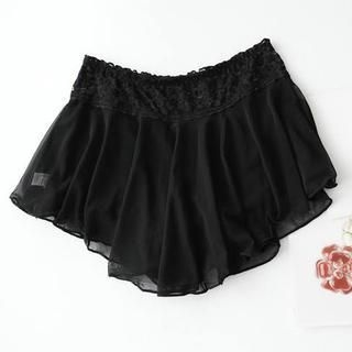 Mini Jule - Lace-Waist Layered Chiffon Boy Shorts