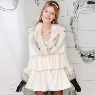 Dabuwawa - Wool-Blend Faux-Fur Collar Layered Coat