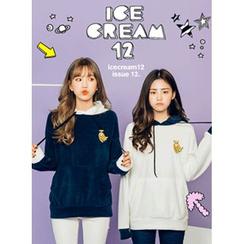 icecream12 - Color-Block Polar-Fleece Hood Pullover