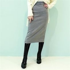 GLAM12 - Band-Waist Midi Skirt