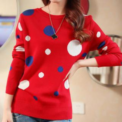 anzoveve - Polka Dot Knit Top