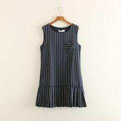 Mushi - Pinstriped Ruffle Hem Sleeveless Dress