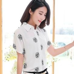 In the Mood - 短袖刺绣衬衫