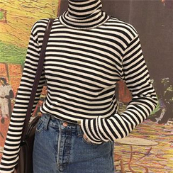 KUMI - Turtleneck Striped Long Sleeve T-Shirt