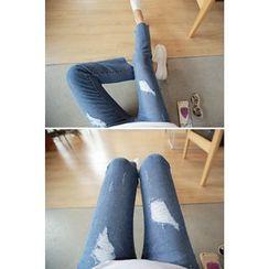 Momnuri - Maternity Distressed Boot-Cut Jeans