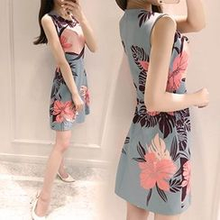 Ashlee - Floral Print Sleeveless A-line Dress