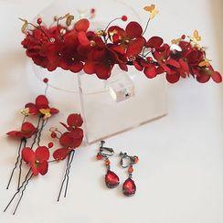 Neostar - Bridal Set: Flower Tiara + Flower Hair Pin + Drop Earrings