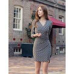GUMZZI - Patterned Surplice-Wrap Mini Dress