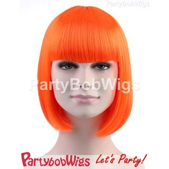 Party Wigs - PartyBobWigs - Party Short Bob Wig - Neon Orange