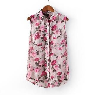 Flower Idea - Sleeveless Floral Chiffon Blouse