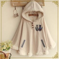 Snow Goose - Cat Applique Fleece Lined Hooded Cape
