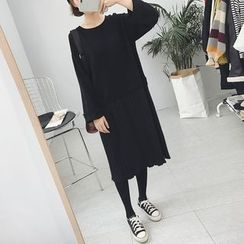 Eva Fashion - Long-Sleeve Mock Two Piece Dress