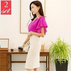 St. Mary - Set: Ruffle-Sleeve Blouse + High-Waist Pencil Skirt