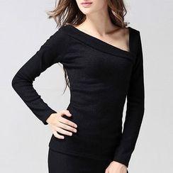 Isadora - Asymmetric Ribbed Long-Sleeve T-Shirt